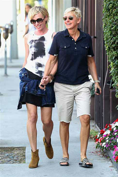 We love Ellen DeGeneres because she likes to keep it casual while shopping, like when she stepped out with wife Portia De Rossi in shorts and athletic flip flops on Sept. 14, 2012. <span class=meta>(Norman Scott &#47; startraksphoto.com)</span>