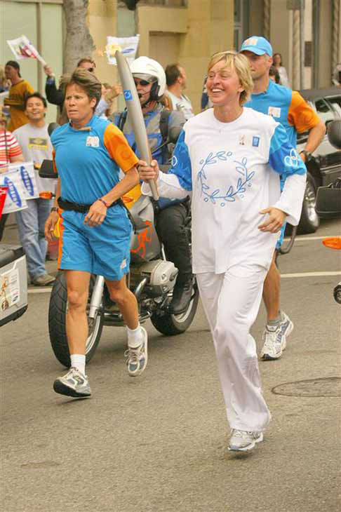 We love Ellen DeGeneres because she got to run with the Athens 2004 Olympic Torch in Los Angeles on June 16, 2004. How many of us can say we&#39;ve done THAT? <span class=meta>(Marty Hause &#47; startraksphoto.com)</span>