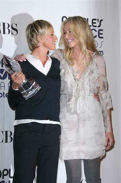 We love Ellen DeGeneres because she and wife Portia De Rossi are simply adorable, as evidenced at the 2009 People&#39;s Choice Awards in Los Angeles on Jan. 7, 2009. <span class=meta>(Jen Lowery &#47; startraksphoto.com)</span>
