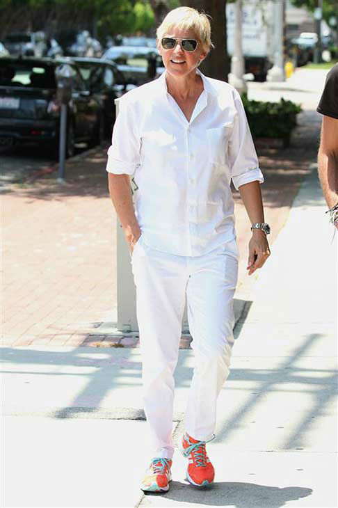 We love Ellen DeGeneres because she makes wearing all white look easy while shopping in Los Angeles on July 6, 2011. <span class=meta>(Norman Scott &#47; startraksphoto.com)</span>