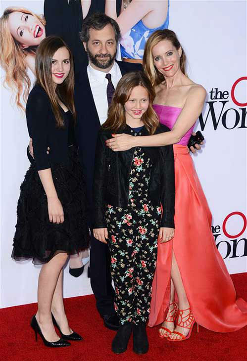 Leslie Mann appears with husband Judd Apatow and daughters Maude and Iris at the Los Angeles premiere of &#39;The Other Woman&#39; on April 21, 2014. <span class=meta>(Lionel Hahn &#47; startraksphoto.com)</span>