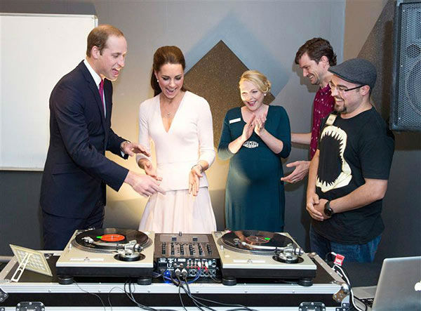 "<div class=""meta image-caption""><div class=""origin-logo origin-image ""><span></span></div><span class=""caption-text"">Prince William and Kate Middleton, aka Catherine, Duchess of Cambridge, visit The Northern Sound System and try their hands at DJing with DJ Shane Peterer in Adelaide, Australia on April 23, 2014. (Rex Features/Startraksphoto.com)</span></div>"