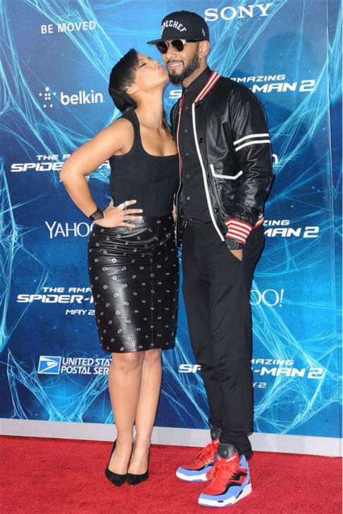 Alicia Keys and husband Swizz Beatz appear at the premiere of &#39;The Amazing Spider-Man 2&#39; in New York on April 24, 2014. <span class=meta>(Humberto Carreno &#47; Startraksphoto.com)</span>