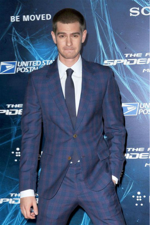 "<div class=""meta image-caption""><div class=""origin-logo origin-image ""><span></span></div><span class=""caption-text"">Andrew Garfield appears at the premiere of 'The Amazing Spider-Man 2' in New York on April 24, 2014. He plays Spider-Man / Peter Parker. He is wearing a blue and purple Alexander McQueen suit. (Humberto Carreno / Startraksphoto.com)</span></div>"