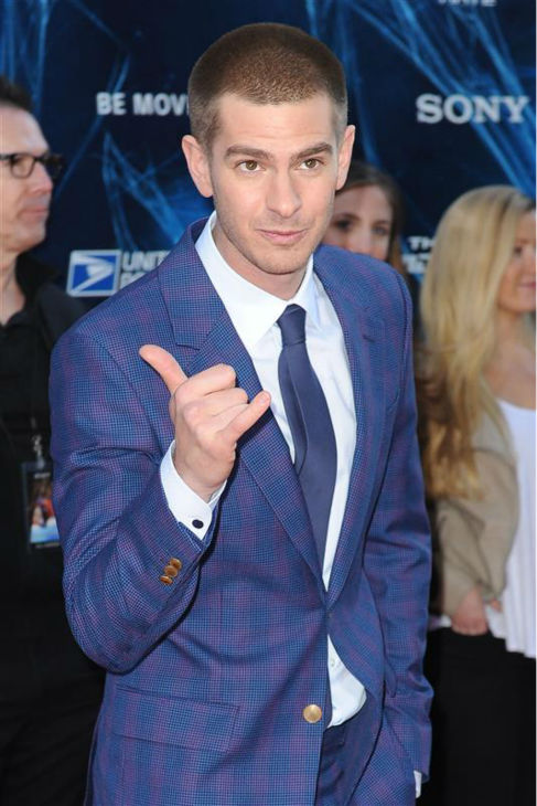 "<div class=""meta ""><span class=""caption-text "">Andrew Garfield appears at the premiere of 'The Amazing Spider-Man 2' in New York on April 24, 2014. He plays Spider-Man / Peter Parker. He is wearing a blue and purple Alexander McQueen suit. (Humberto Carreno / Startraksphoto.com)</span></div>"