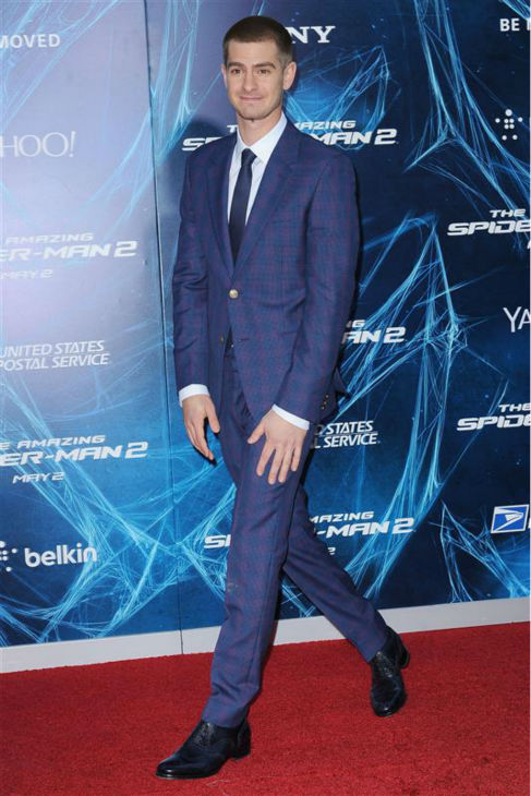 Andrew Garfield appears at the premiere of &#39;The Amazing Spider-Man 2&#39; in New York on April 24, 2014. He plays Spider-Man &#47; Peter Parker. He is wearing a blue and purple Alexander McQueen suit. <span class=meta>(Humberto Carreno &#47; Startraksphoto.com)</span>