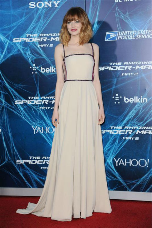 "<div class=""meta image-caption""><div class=""origin-logo origin-image ""><span></span></div><span class=""caption-text"">Emma Stone appears at the premiere of 'The Amazing Spider-Man 2' in New York on April 24, 2014. She plays Gwen Stacy's Spider-Man / Peter Parker's love interest. The actress is wearing a nude, studded Prada gown. (Humberto Carreno / Startraksphoto.com)</span></div>"
