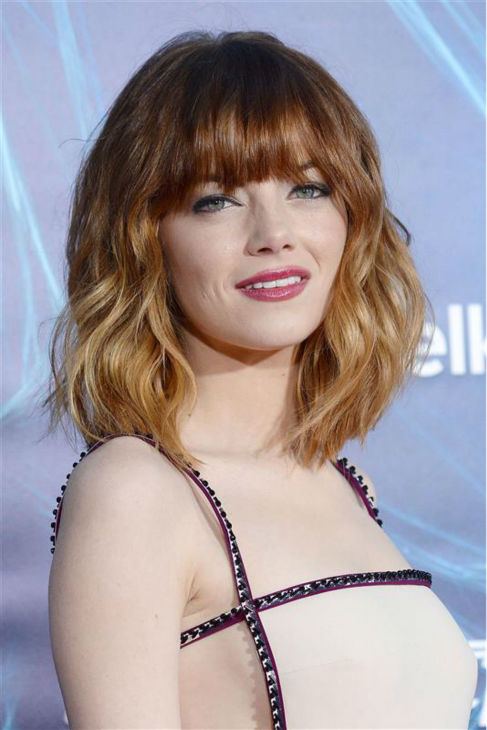 Emma Stone appears at the premiere of &#39;The Amazing Spider-Man 2&#39; in New York on April 24, 2014. She plays Gwen Stacy&#39;s Spider-Man &#47; Peter Parker&#39;s love interest. The actress is wearing a nude, studded Prada gown. <span class=meta>(Humberto Carreno &#47; Startraksphoto.com)</span>