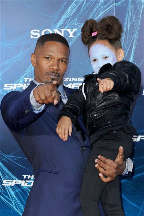 "<div class=""meta ""><span class=""caption-text "">Jamie Foxx and daughter Annalise Bishop, 4, appear at the premiere of 'The Amazing Spider-Man 2' in New York on April 24, 2014. Foxx plays the villain Electro in the movie. (Humberto Carreno / Startraksphoto.com)</span></div>"