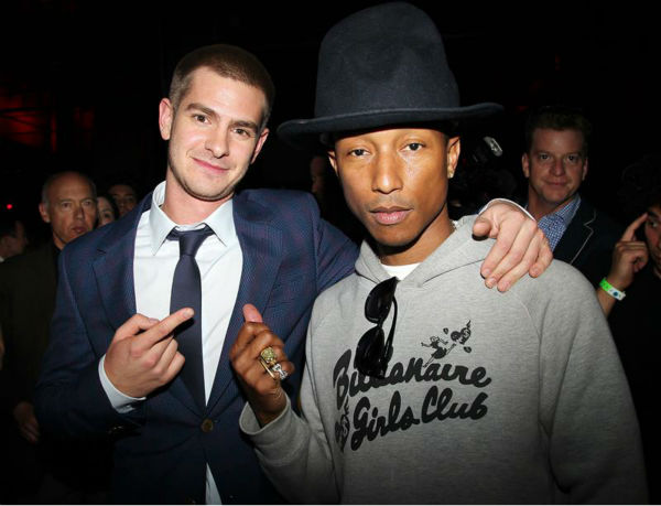 Andrew Garfield and singer Pharrell Williams appear at an after party for the premiere of &#39;The Amazing Spider-Man 2&#39; in New York on April 24, 2014. Garfield plays Spider-Man &#47; Peter Parker in the movie. Williams&#39; music is featured on the film&#39;s soundtrack. <span class=meta>(Dave Allocca &#47; Startraksphoto.com)</span>