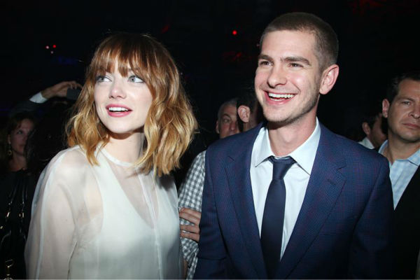 Andrew Garfield and Emma Stone appear at an after party for the premiere of &#39;The Amazing Spider-Man 2&#39; in New York on April 24, 2014. Garfield plays Spider-Man &#47; Peter Parker in the movie, while Stone plays his love interest, Gwen Stacy. <span class=meta>(Dave Allocca &#47; Startraksphoto.com)</span>