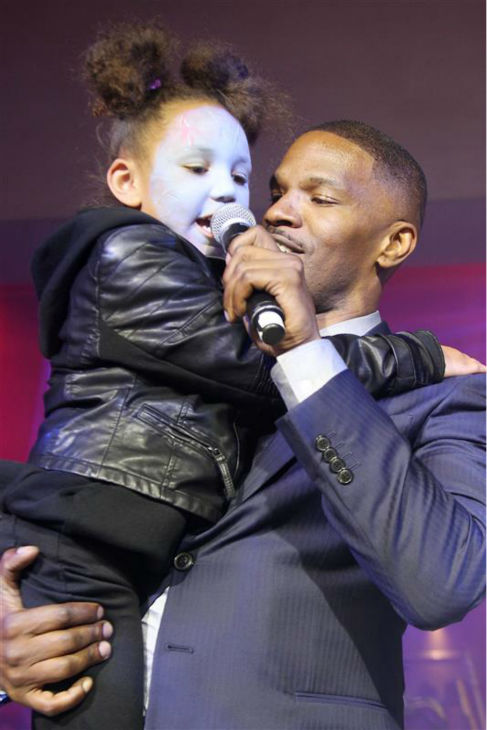 "<div class=""meta image-caption""><div class=""origin-logo origin-image ""><span></span></div><span class=""caption-text"">Jamie Foxx and daughter Annalise Bishop, 4, appear on stage at an after party for the premiere of 'The Amazing Spider-Man 2' in New York on April 24, 2014. Foxx plays the villain Electro in the movie. (Marion Curtis / Startraksphoto.com)</span></div>"