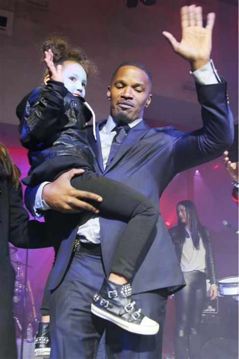 Jamie Foxx and daughter Annalise Bishop, 4, appear on stage at an after party for the premiere of &#39;The Amazing Spider-Man 2&#39; in New York on April 24, 2014. Foxx plays the villain Electro in the movie. <span class=meta>(Dave Allocca &#47; Startraksphoto.com)</span>