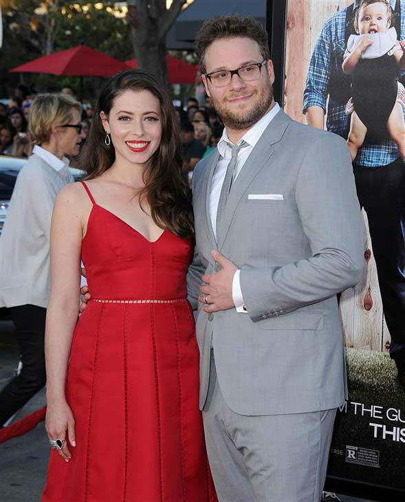 Seth Rogen and wife Lauren Miller appear at the Los Angeles premiere of the comedy &#39;Neighbors&#39; on April 28, 2014. <span class=meta>(Hollywood Press &#47; startraksphoto.com)</span>