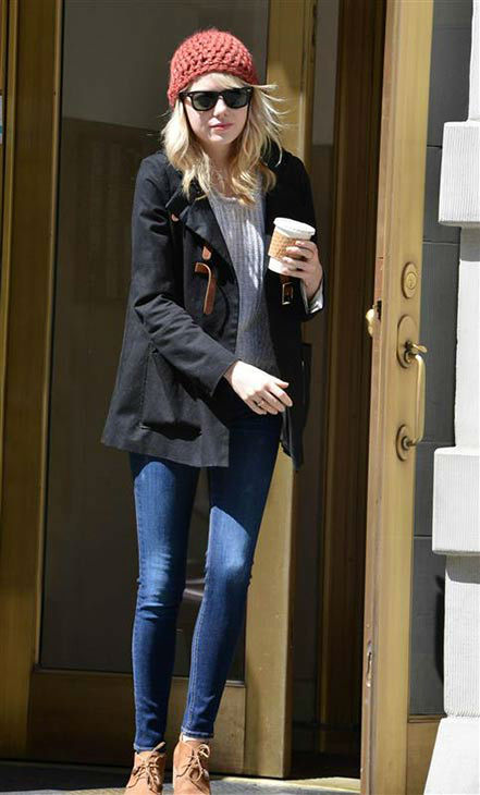 We love Emma Stone because she makes wearing street casual clothing look chic, like the time she left an apartment building in New York City with what had to be a delicious cup of coffee on April 22, 2013. <span class=meta>(Kevin Gee &#47; startraksphoto.com)</span>