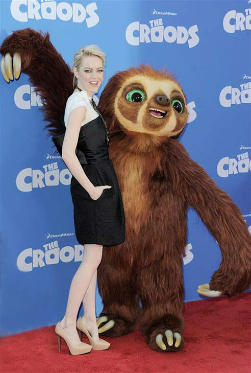 "<div class=""meta ""><span class=""caption-text "">We love Emma Stone because, like all of us, she enjoys posing with an over-sized stuffed animal, like this time at the New York City premiere of 'The Croods' on March 10, 2013. (Bill Davila / startraksphoto.com)</span></div>"