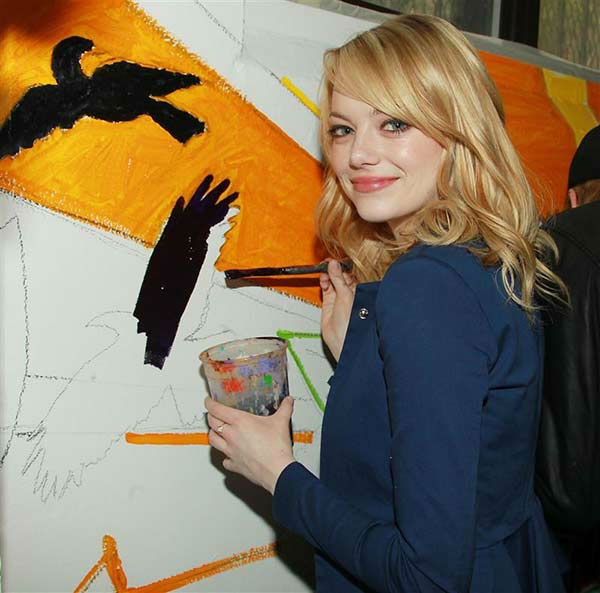 "<div class=""meta image-caption""><div class=""origin-logo origin-image ""><span></span></div><span class=""caption-text"">We love Emma Stone because she dabbles in other art forms other than acting, like the time she tried her hand at painting for the 'Be Amazing, Stand Up and Volunteer Initiative' in New York City on June 26, 2012. (Dave Allocca / startraksphoto.com)</span></div>"
