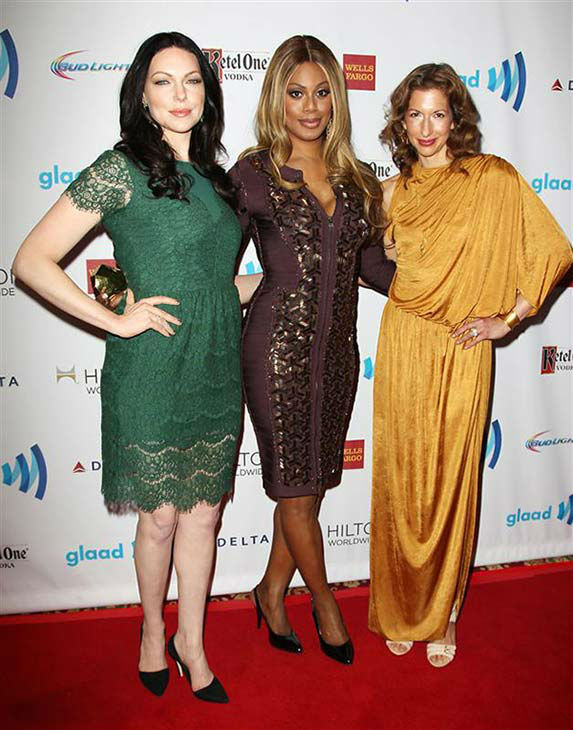 "<div class=""meta ""><span class=""caption-text "">Laura Prepon, Laverne Cox and Alysia Reiner appear at the 2014 GLAAD Media Awards in New York City on May 3, 2014. (Kristina Bumphrey/Startraksphoto.com)</span></div>"