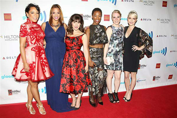 "<div class=""meta image-caption""><div class=""origin-logo origin-image ""><span></span></div><span class=""caption-text"">Selenis Leyva,Dascha Polanco,Yael Stone,Samira Wiley,Emma Myles and Taryn Manning appear at the 2014 GLAAD Media Awards in New York City on May 3, 2014.  (Kristina Bumphrey/Startraksphoto.com)</span></div>"