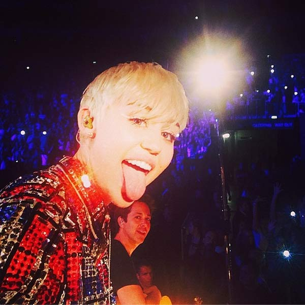 The time Miley Cyrus stuck out her tongue in a &#39;selfie&#39; she posted on Instagram after her London O2 arena show on May 6, 2014. <span class=meta>(instagram.com&#47;mileycyrus)</span>