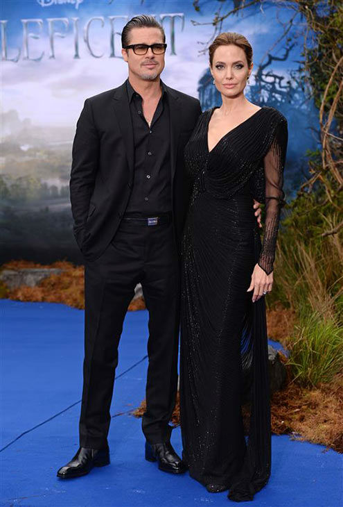 "<div class=""meta image-caption""><div class=""origin-logo origin-image ""><span></span></div><span class=""caption-text"">Angelina Jolie and Brad Pitt appear at the London premiere of 'Maleficent' on May 8, 2014. (Nick Sadler/startraksphoto.com)</span></div>"