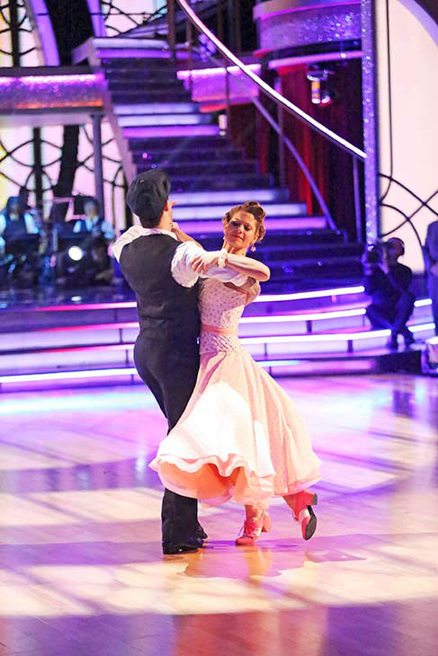 Candace Cameron Bure and Mark Ballas dance the Viennese Waltz on week nine of &#39;Dancing With The Stars&#39; on May 12, 2014. They received 34 out of 40 points from the judges. The pair also received 38 out of 40 points for their Jazz routine. <span class=meta>(ABC Photo&#47; Adam Taylor)</span>