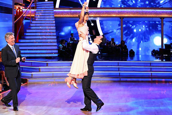 Candace Cameron Bure and Mark Ballas react to being safe from elimination on week nine of &#39;Dancing With The Stars&#39; on May 12, 2014. They received 34 out of 40 points from the judges for their Viennese Waltz and 38 out of 40 points for their Jazz routine. <span class=meta>(ABC Photo&#47; Adam Taylor)</span>