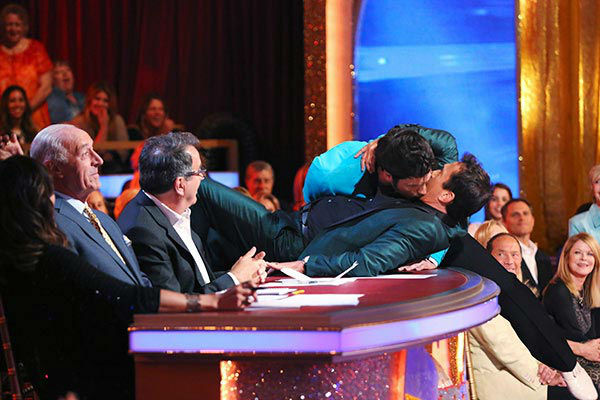 Maksim Chmerkovskiy gives judge Bruno Tonioli a kiss after he and Meryl Davis danced the Jive on week nine of &#39;Dancing With The Stars&#39; on May 12, 2014. They received 40 out of 40 points from the judges. The pair also received 40 out of 40 points for their Viennese Waltz. <span class=meta>(ABC Photo&#47; Adam Taylor)</span>