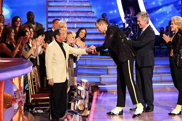 James Maslow greets Paul Anka after he and Peta Murgatroyd dance the Cha Cha Cha on week nine of &#39;Dancing With The Stars&#39; on May 12, 2014. They received 40 out of 40 points from the judges. The pair also received 36 out of 40 points for their Rumba.   Anka co-wrote the Michael Jackson song &#39;Love Never Felt So Good,&#39; which was the song Maslow and Murgatroyd danced to. <span class=meta>(ABC Photo&#47; Adam Taylor)</span>