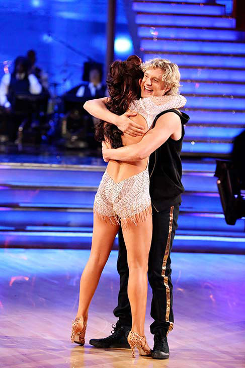 Charlie White and Sharna Burgess react to being eliminated on week nine of &#39;Dancing With The Stars&#39; on May 12, 2014. They received 40 out of 40 points from the judges for their Foxtrot and 36 out of 40 points for their Samba. <span class=meta>(ABC Photo&#47; Adam Taylor)</span>