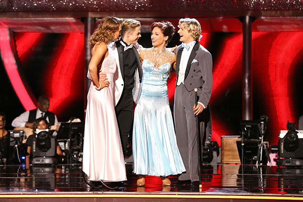 Amy Purdy, Derek Hough, Charlie White and Sharna Burgess Burgess await their fate on week nine of &#39;Dancing With The Stars&#39; on May 12, 2014. <span class=meta>(ABC Photo&#47; Adam Taylor)</span>