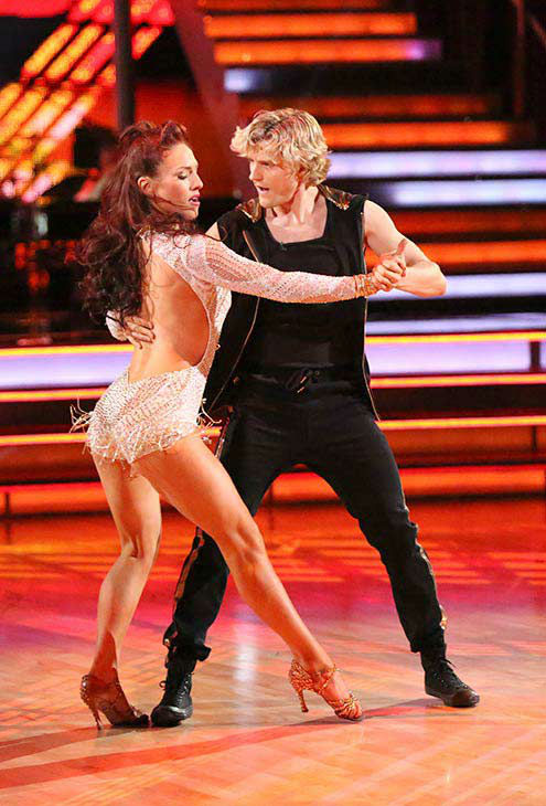Charlie White and Sharna Burgess dance the Samba on week nine of &#39;Dancing With The Stars&#39; on May 12, 2014. They received 36 out of 40 points from the judges. The pair also received 40 out of 40 points for their Foxtrot. <span class=meta>(ABC Photo&#47; Adam Taylor)</span>
