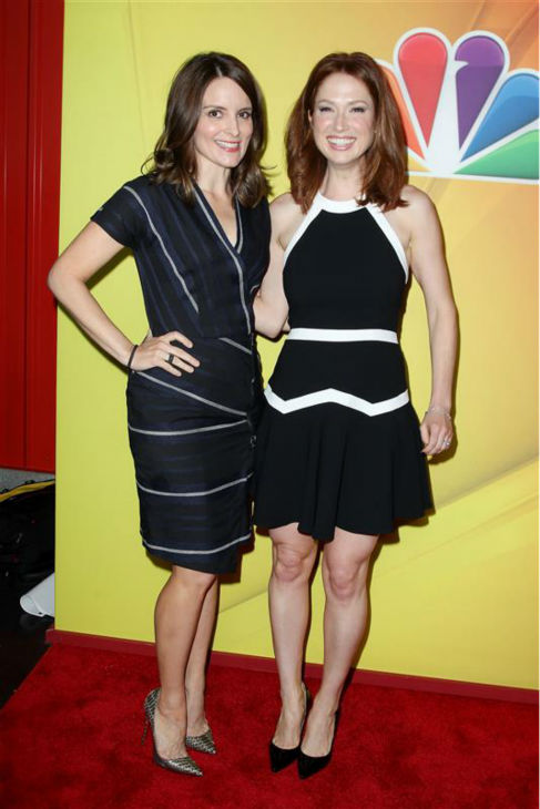 Tina Fey and Ellie Kemper, executive producer and star of the new NBC comedy series &#39;Unbreakable Kimmy Schmidt,&#39; appear at the network&#39;s 2014 Upfront presentation in New York on May 12, 2014. <span class=meta>(Amanda Schwab &#47; Startraksphoto.com)</span>