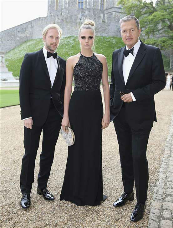 Cara Delevingne and Mario Testino with guest arrive for a dinner to celebrate the work of The Royal Marsden hosted by the Duke of Cambridge at Windsor Castle Tuesday May 13, 2014 in Windsor, England.  <span class=meta>(Rex Features&#47;startraksphoto.com)</span>