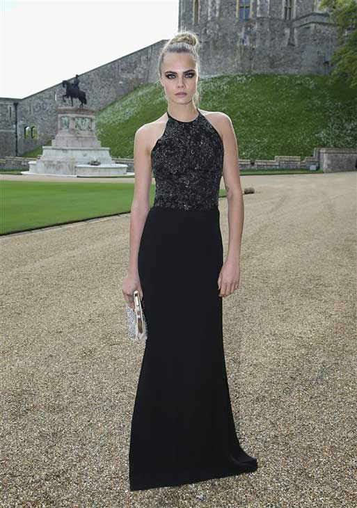 Cara Delevingne arrives for a dinner to celebrate the work of The Royal Marsden hosted by the Duke of Cambridge at Windsor Castle Tuesday May 13, 2014 in Windsor, England.  <span class=meta>(Rex Features&#47;startraksphoto.com)</span>