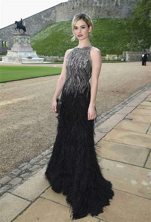 Lily James arrives for a dinner to celebrate the work of The Royal Marsden hosted by the Duke of Cambridge at Windsor Castle Tuesday May 13, 2014 in Windsor, England.  <span class=meta>(Rex Features&#47;startraksphoto.com)</span>