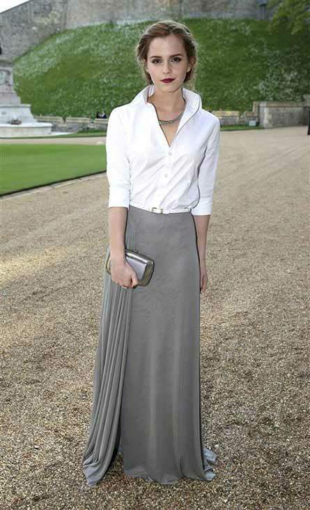 Emma Watson arrives for a dinner to celebrate the work of The Royal Marsden hosted by the Duke of Cambridge at Windsor Castle Tuesday May 13, 2014 in Windsor, England.  <span class=meta>(Rex Features&#47;startraksphoto.com)</span>