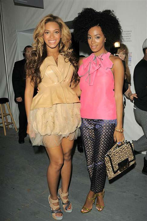 Beyonce and Solange appear at Vera Wang&#39;s Spring 2012 collection fashion show during Mercedes-Benz Fashion Week  on Nov. 13, 2011. <span class=meta>(Bill Davila&#47;startraksphoto.com)</span>