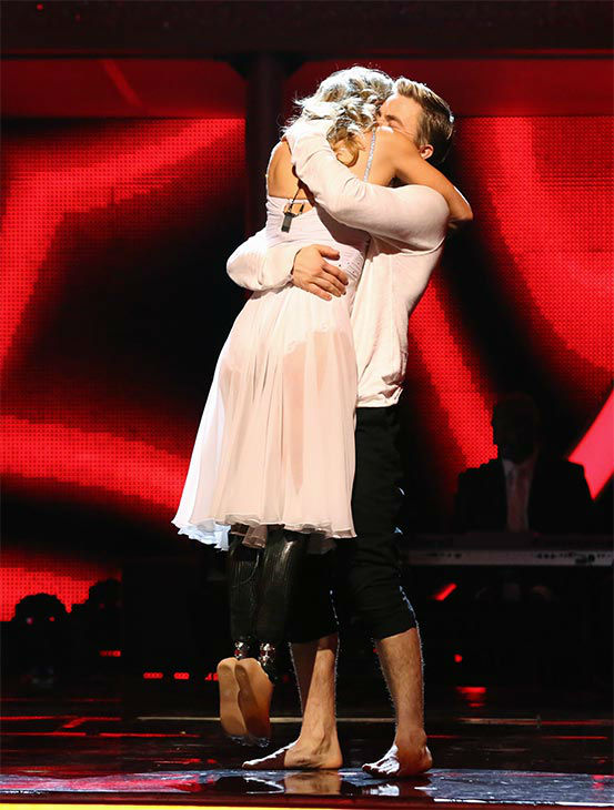 Amy Purdy and Derek Hough react to being safe from elimination on week 10 of &#39;Dancing With The Stars&#39; on May 19, 2014. They received 30 out of 30 points from the judges for their Salsa and 29 out of 30 points for their Freestyle. <span class=meta>(ABC&#47;Adam Taylor)</span>