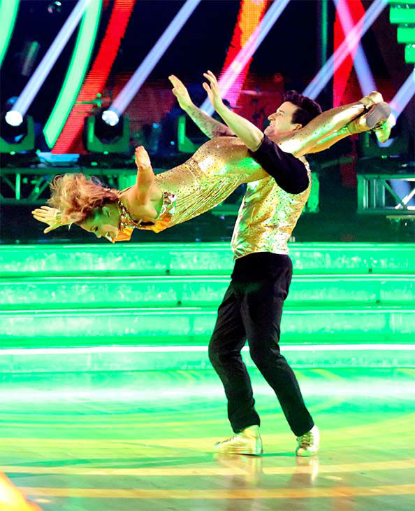 "<div class=""meta image-caption""><div class=""origin-logo origin-image ""><span></span></div><span class=""caption-text"">Candace Cameron Bure and Mark Ballas perform a Freestyle routine on week 10 of 'Dancing With The Stars' on May 19, 2014. They received 24 out of 30 points from the judges. The pair also received 27 out of 30 points for their Quickstep. (ABC/Adam Taylor)</span></div>"