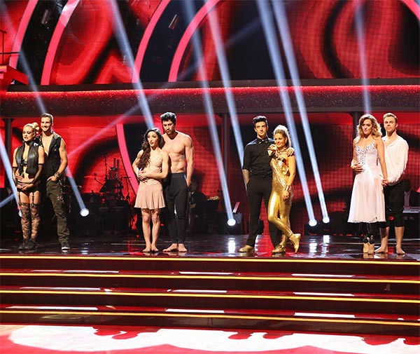 James Maslow, Peta Murgatroyd, Meryl Davis, Maksim Chmerkovskiy, Candace Cameron Bure, Mark Ballas, Amy Purdy and Derek Hough await their fate on week 10 of &#39;Dancing With The Stars&#39; on May 19, 2014.  <span class=meta>(ABC&#47;Adam Taylor)</span>