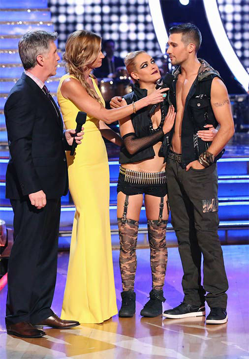 "<div class=""meta image-caption""><div class=""origin-logo origin-image ""><span></span></div><span class=""caption-text"">James Maslow and Peta Murgatroyd react to being eliminated on week 10 of 'Dancing With The Stars' on May 19, 2014. They received 29 out of 30 points from the judges for their Tango and 29 out of 30 points for their Freestyle. (ABC/Adam Taylor)</span></div>"
