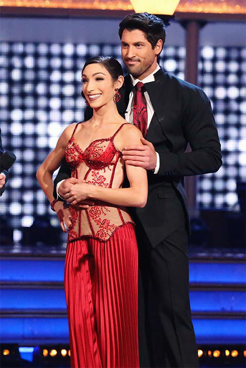 Meryl Davis and Maksim Chmerkovskiy danced the Argentine Tango on week 10 of &#39;Dancing With The Stars&#39; on May 19, 2014. They received 30 out of 30 points from the judges. The pair also received 30 out of 30 points for their Freestyle. <span class=meta>(ABC&#47;Adam Taylor)</span>