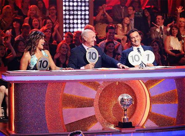 The judges give out scores for Meryl Davis and Maksim Chmerkovskiy&#39;s Freetsyle in a still from &#39;Dancing With The Stars&#39; season 18 on May 19, 2014. <span class=meta>(ABC&#47;Adam Taylor)</span>