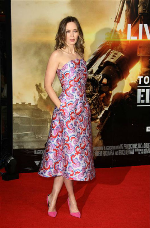 Emily Blunt appears at the premiere of &#39;Edge of Tomorrow&#39; in London on May 27, 2014. <span class=meta>(Abaca &#47; Startraksphoto.com)</span>