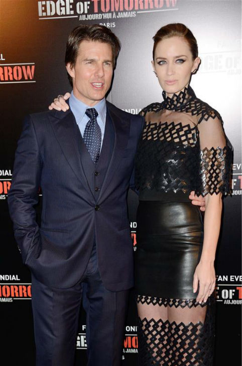 Emily Blunt and Tom Cruise appear at the premiere of &#39;Edge of Tomorrow&#39; in Paris on May 28, 2014. <span class=meta>(Nicolas Genin &#47; Abaca &#47; Startraksphoto.com)</span>