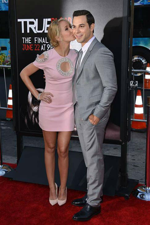 Anna Camp and Skylar Astin appear at the &#39;True Blood&#39; season 7 premiere at the TCL Chinese Theater in Hollywood, California on June 17, 2014. <span class=meta>(Tony DiMaio&#47;startraksphoto.com)</span>