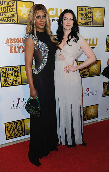 Laverne Cox, left, and Laura Prepon arrive at the Critics&#39; Choice Television Awards at the Beverly Hilton Hotel on Thursday, June 19, 2014, in Beverly Hills, Calif. <span class=meta>(Richard Shotwell&#47;Invision&#47;AP)</span>