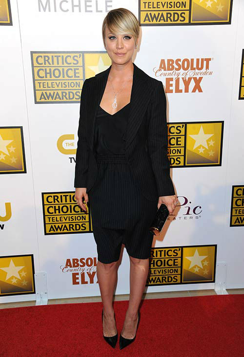"<div class=""meta ""><span class=""caption-text "">Kaley Cuoco arrives at the Critics' Choice Television Awards at the Beverly Hilton Hotel on Thursday, June 19, 2014, in Beverly Hills, Calif.  (Richard Shotwell/Invision/AP)</span></div>"
