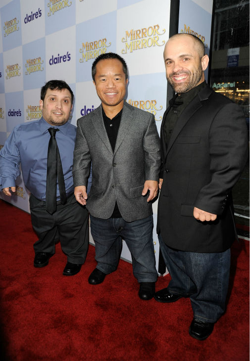 &#40;L-R&#41; Actors Joey Gnoffo, Ronald Lee Clark and Sebastian Saraceno arrive at the premiere of &#39;Mirror Mirror&#39; at the Grauman&#39;s Chinese Theatre on March 17, 2012 in Hollywood, California.  <span class=meta>(Frazer Harrison &#47; Getty Images For Relativity Media)</span>